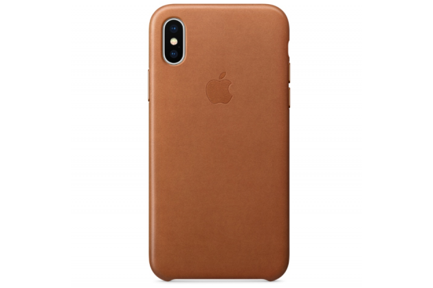 Фирменная оригинальная подлинная крышка-накладка с логотипом из тончайшего и прочного пластика обтянутая импортной кожей для Apple iPhone X (10) коричневая