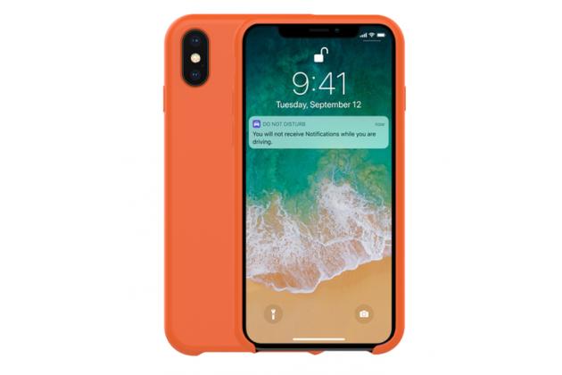 Фирменная ультра-тонкая задняя панель-чехол-накладка с логотипом для Apple iPhone X (10) полимерная из мягкого качественного силикона оранжевая