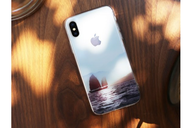 Фирменная роскошная задняя панель-чехол-накладка  из мягкого силикона с безумно красивым расписным 3D рисунком на Apple iPhone X (10) тематика Закат