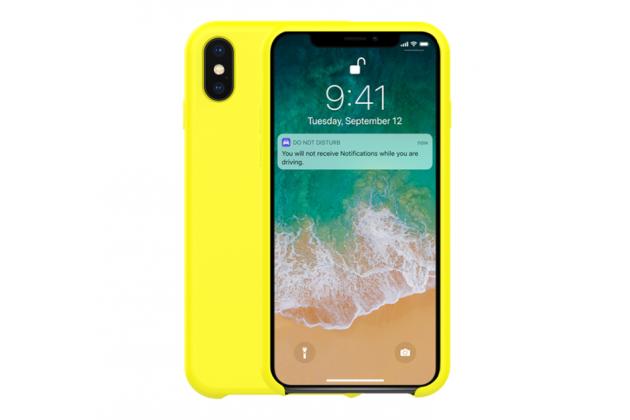 Фирменная ультра-тонкая задняя панель-чехол-накладка с логотипом для Apple iPhone X (10) полимерная из мягкого качественного силикона желтая