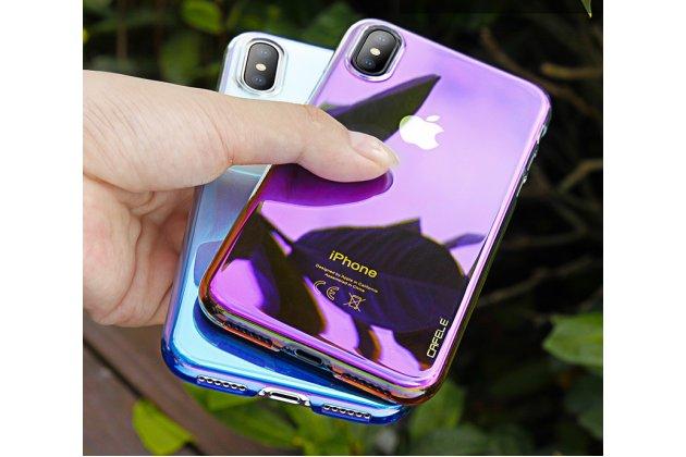 Фирменная ультра-тонкая пластиковая задняя панель-чехол-накладка для Apple iPhone X (10) прозрачная ярко-розовая