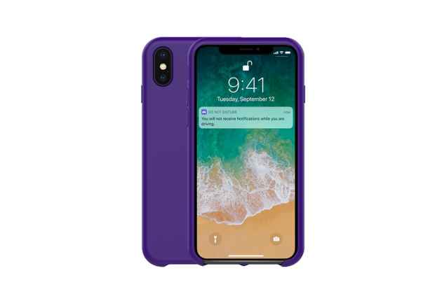 Фирменная ультра-тонкая задняя панель-чехол-накладка с логотипом для Apple iPhone X (10) полимерная из мягкого качественного силикона фиолетовая