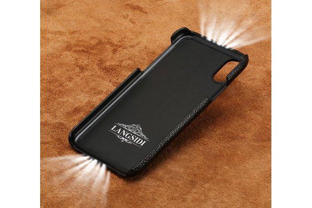 Фирменная роскошная задняя панель-крышка обтянутая импортной кожей для Apple iPhone X (10) черно-коричневая