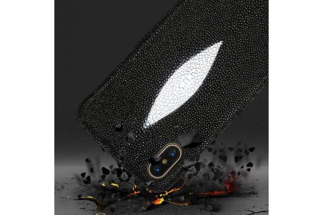Фирменная роскошная эксклюзивная накладка  из натуральной рыбьей кожи СКАТА (с жемчужным блеском) чёрный для Apple iPhone X (10). Только в нашем магазине. Количество ограничено