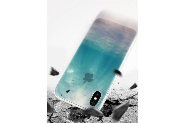Фирменная роскошная задняя панель-чехол-накладка  из мягкого силикона с безумно красивым расписным 3D рисунком на Apple iPhone X (10) тематика Мальдивы