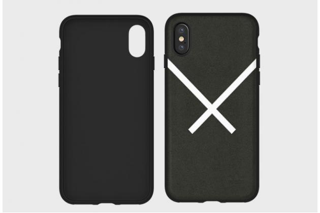 Фирменная  оригинальная подлинная  задняя панель-крышка-накладка  с логотипом из замши для Apple iPhone X (10) черная