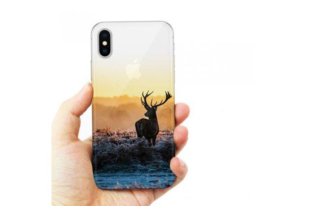 Фирменная роскошная задняя панель-чехол-накладка из мягкого силикона с объемным  3D изображением  на Apple iPhone X (10) c с безумно красивым рисунком тематика Лось