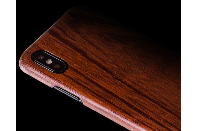 Фирменная оригинальная деревянная из натурального бамбука задняя панель-крышка-накладка для Apple iPhone X (10) коричневая