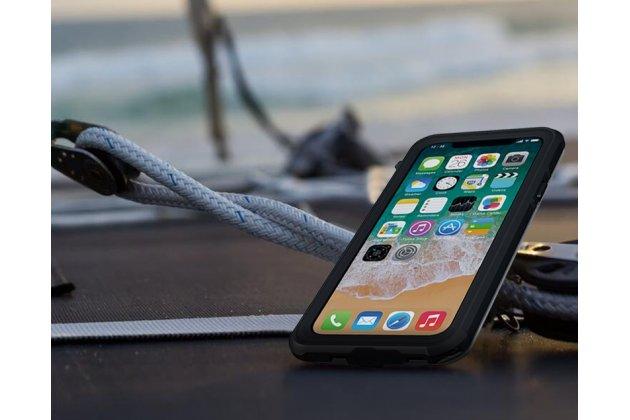 Неубиваемый водостойкий силиконовый противоударный водонепроницаемый грязестойкий влагозащитный ударопрочный фирменный чехол-бампер для Apple iPhone X (10) черный