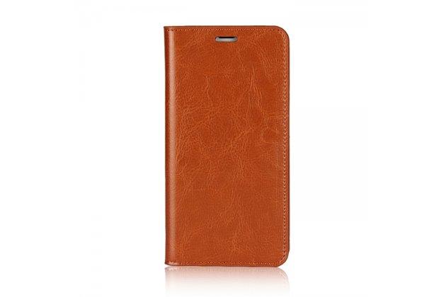 Фирменный премиальный элитный чехол-книжка из качественной импортной кожи с мульти-подставкой и визитницей для Apple iPhone X (10)  светло-коричневый