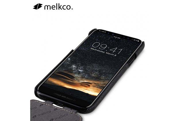 Фирменный оригинальный вертикальный откидной чехол-флип для Apple iPhone X (10) Белый из натуральной кожи Prestige Италия