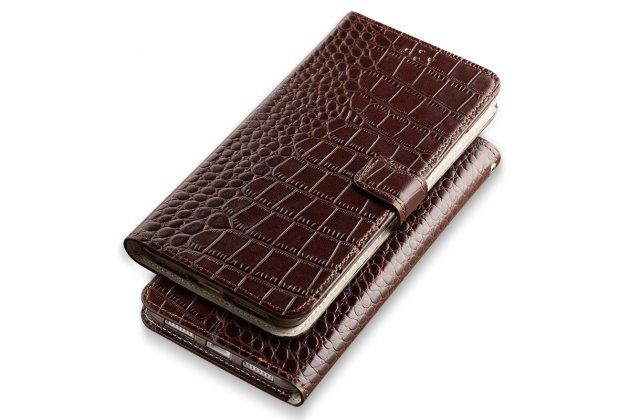 Фирменный роскошный эксклюзивный чехол с фактурной прошивкой рельефа кожи крокодила и визитницей коричневый для Apple iPhone X (10). Только в нашем магазине. Количество ограничено
