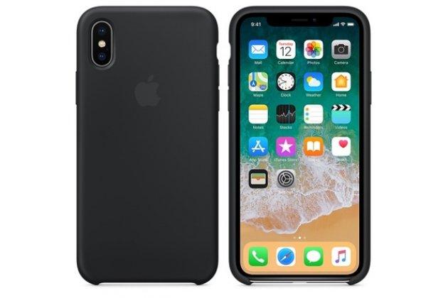 Фирменная ультра-тонкая задняя панель-чехол-накладка с логотипом для Apple iPhone X (10) полимерная из мягкого качественного силикона в черном цвете