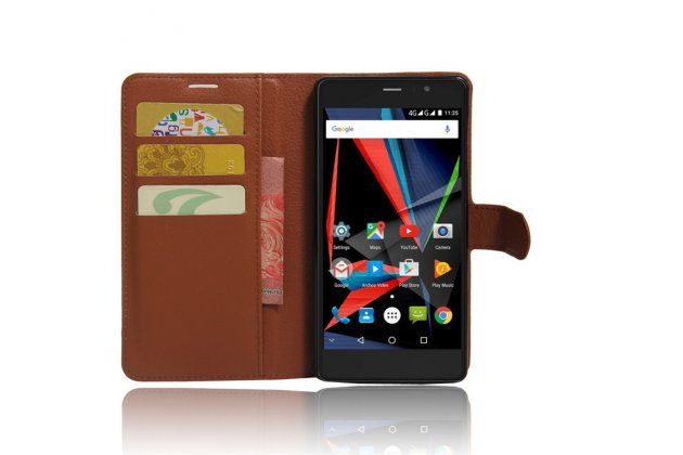 Фирменный премиальный элитный чехол-книжка из качественной импортной кожи с мульти-подставкой и визитницей для Archos 55 Diamond Selfie  коричневый