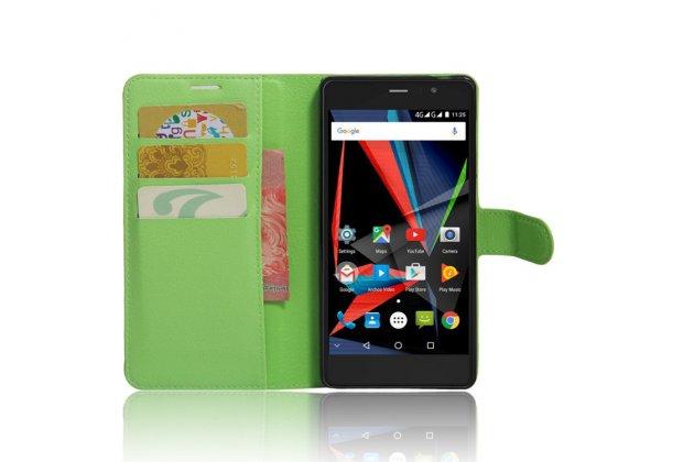 Фирменный премиальный элитный чехол-книжка из качественной импортной кожи с мульти-подставкой и визитницей для Archos 55 Diamond Selfie зеленый