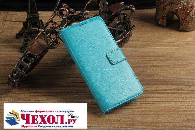 Фирменный чехол-книжка из качественной импортной кожи с подставкой застёжкой и визитницей для Asus Pegasus 5000 X005 голубой