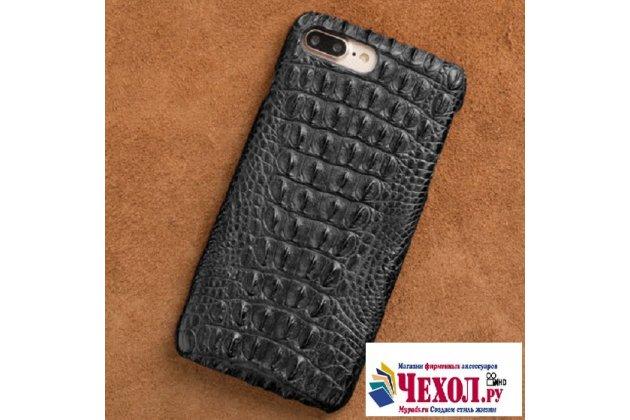 Фирменная роскошная эксклюзивная накладка с объёмным 3D изображением рельефа кожи крокодила черная для Asus Pegasus 5000 X005. Только в нашем магазине. Количество ограничено