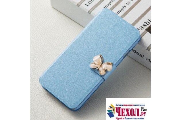 Фирменный роскошный чехол-книжка безумно красивый декорированный бусинками и кристаликами на Asus Pegasus 5000 X005 голубой