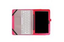 """Фирменный оригинальный чехол для Asus Transformer Book T101/T101HA"""" с отделением под клавиатуру красный кожаный"""