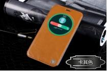 Фирменный оригинальный чехол-книжка для ASUS Zenfone 2 Lazer ZE550KL 5.5 (Z00LD) коричневый с окошком для входящих вызовов водоотталкивающий
