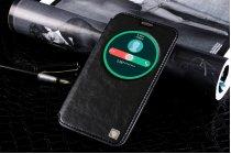 Фирменный оригинальный чехол-книжка для ASUS Zenfone 2 Lazer ZE550KL 5.5 (Z00LD) чёрный с окошком для входящих вызовов водоотталкивающий