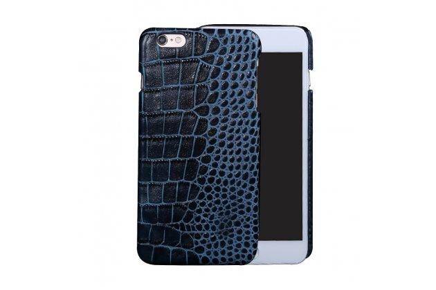 Фирменная неповторимая экзотическая панель-крышка обтянутая кожей крокодила с фактурным тиснением для ASUS ZenFone 3 Deluxe ZS570KL 5.7 (Z016D) синего цвета. Только в нашем магазине. Количество ограничено.