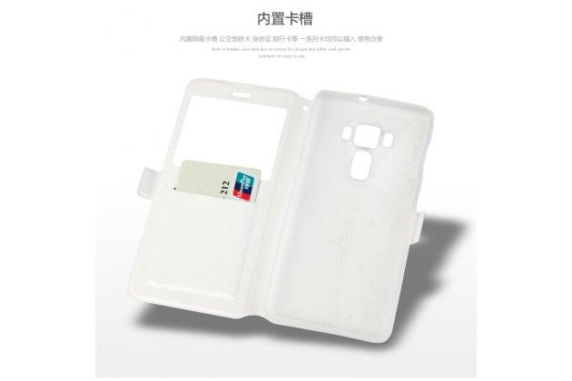 Фирменный чехол-книжка с рисунком на тему Олени в цветах на ASUS ZenFone 3 Deluxe ZS570KL 5.7 с окошком для звонков