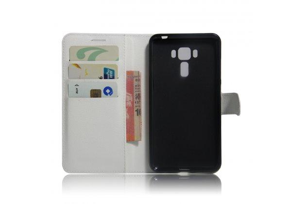 Фирменный чехол-книжка  из качественной импортной кожи с застёжкой и мультиподставкой для ASUS ZenFone 3 Laser ZC551KL 5.5 белый