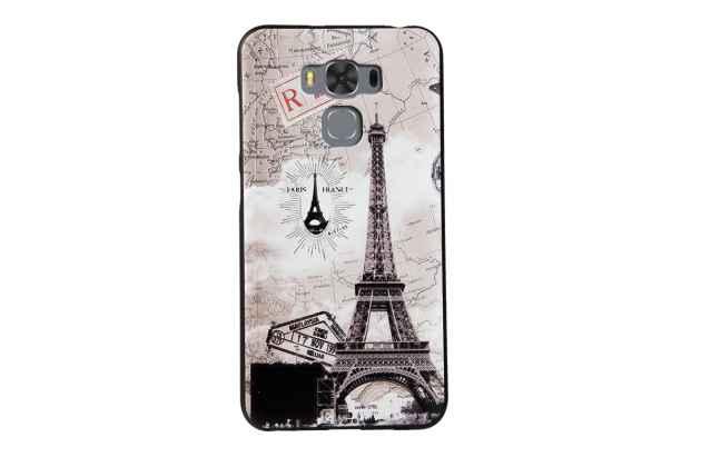 """Фирменная уникальная задняя панель-крышка-накладка из тончайшего силикона для ASUS ZenFone 3 Max ZC553KL 5.5"""" с объёмным 3D рисунком тематика Париж"""