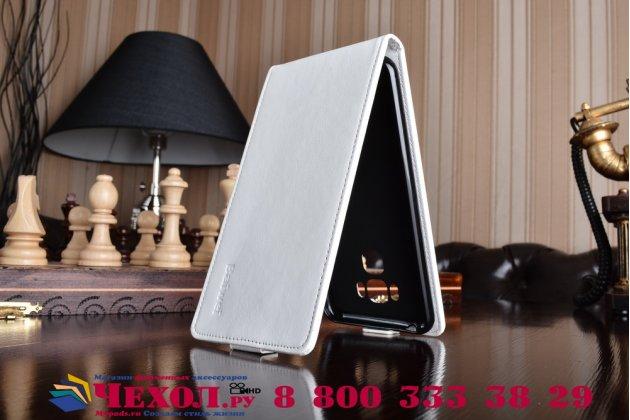 """Фирменный оригинальный вертикальный откидной чехол-флип для ASUS ZenFone 3 Max ZC553KL 5.5"""" белый из натуральной кожи Prestige Италия"""