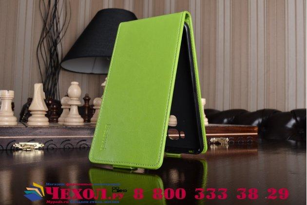 """Фирменный оригинальный вертикальный откидной чехол-флип для ASUS ZenFone 3 Max ZC553KL 5.5"""" зеленый из натуральной кожи Prestige Италия"""