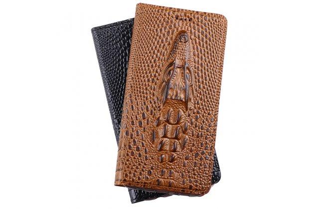 """Фирменный роскошный эксклюзивный чехол с объёмным 3D изображением кожи крокодила коричневый для  ASUS ZenFone 3 Max ZC553KL 5.5"""". Только в нашем магазине. Количество ограничено"""