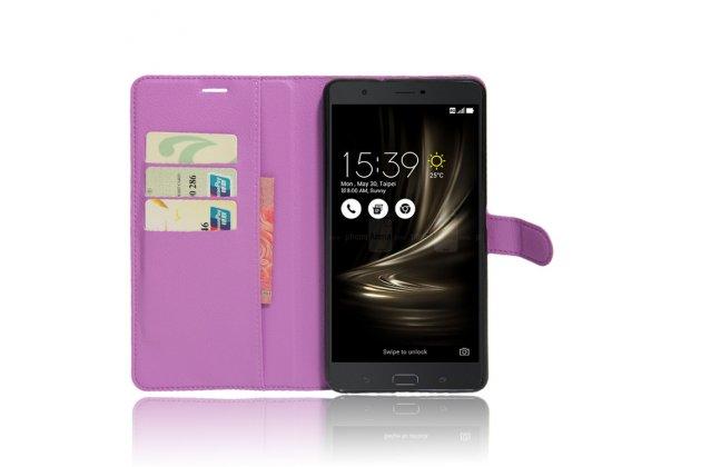 Фирменный чехол-книжка из качественной импортной кожи с подставкой застёжкой и визитницей для ASUS ZenFone 3 Ultra ZU680KL 6.8 фиолетовый
