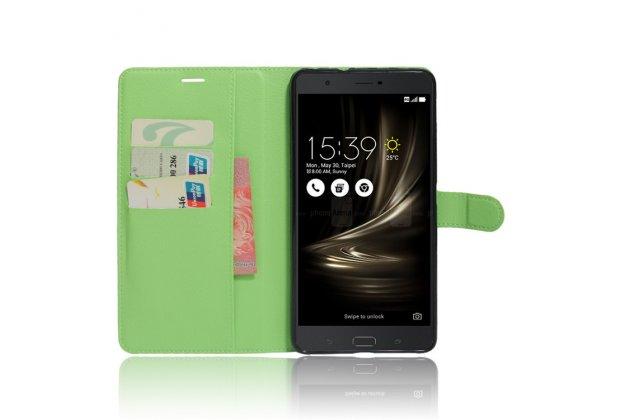 Фирменный чехол-книжка из качественной импортной кожи с подставкой застёжкой и визитницей для ASUS ZenFone 3 Ultra ZU680KL 6.8 зеленый