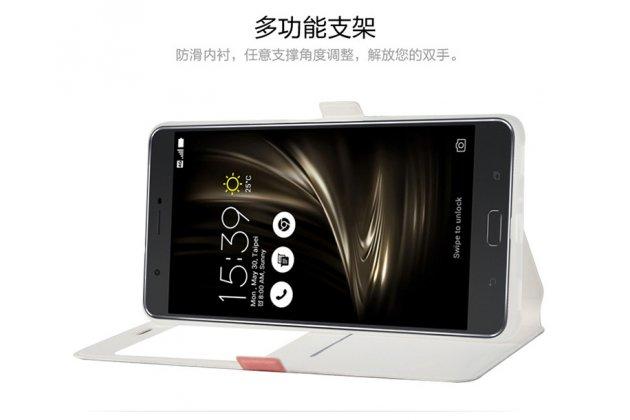 Фирменный чехол-книжка с безумно красивым расписным кислотным-мульти-рисунком на ASUS ZenFone 3 Ultra ZU680KL 6.8 с окошком для звонков