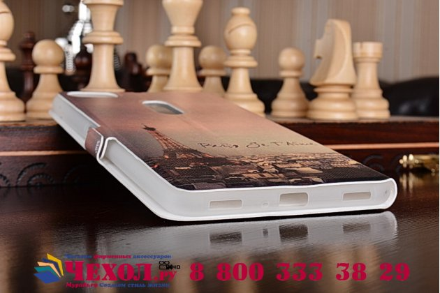 Фирменный чехол-книжка с рисунком на тему Эйфелва Башня на ASUS ZenFone 3 Ultra ZU680KL 6.8 с окошком для звонков