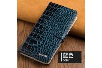 Фирменный роскошный эксклюзивный чехол с фактурной прошивкой рельефа кожи крокодила и визитницей синий для ASUS ZenFone 3 / Zenfone 3 Neo ZE520KL 5.2 (Z017DA). Только в нашем магазине. Количество ограничено