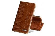 Фирменный роскошный эксклюзивный чехол с фактурной прошивкой рельефа кожи крокодила и визитницей коричневый для ASUS ZenFone 3 / Zenfone 3 Neo ZE520KL 5.2. Только в нашем магазине. Количество ограничено