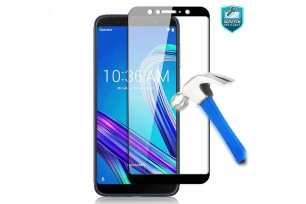 Фирменное 3D защитное изогнутое стекло с закругленными изогнутыми краями которое полностью закрывает экран / дисплей по краям с олеофобным покрытием для ASUS Zenfone Max Plus (M1) ZB570TL 5.7 (X018DC) черное