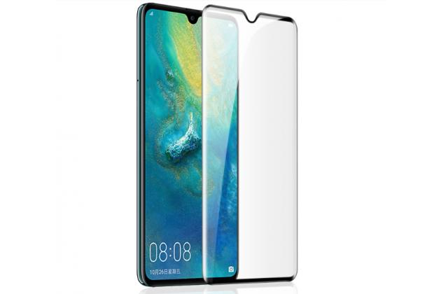 Фирменное 3D защитное изогнутое стекло с закругленными изогнутыми краями которое полностью закрывает экран / дисплей по краям с олеофобным покрытием для Huawei Mate 20 6.53 черное