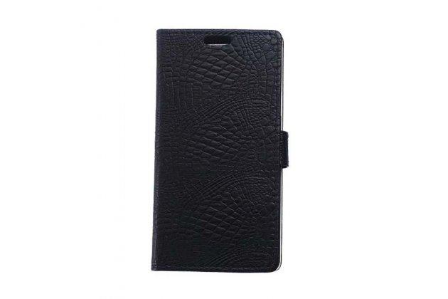 Фирменный чехол-книжка с подставкой для ASUS ZenFone 3 ZE520KL 5.2 лаковая кожа крокодила чёрный