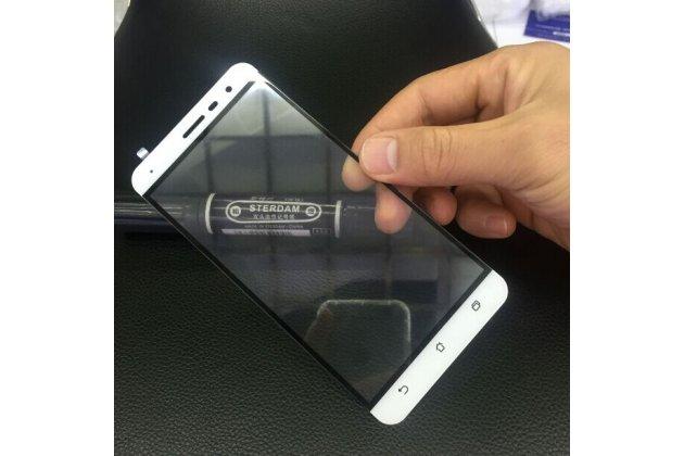 Фирменное 3D защитное изогнутое стекло с закругленными изогнутыми краями которое полностью закрывает экран / дисплей по краям с олеофобным покрытием для ASUS Zenfone 3 ZE552KL 5.5 белое