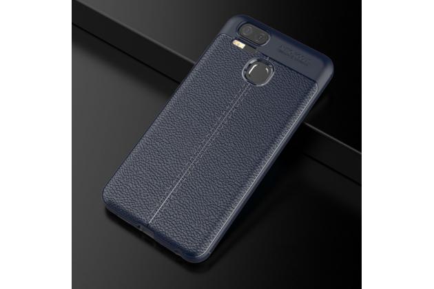 Фирменная премиальная элитная крышка-накладка на Asus ZenFone 3 Zoom ZE553KL 5.5 синяя из качественного силикона с дизайном под кожу