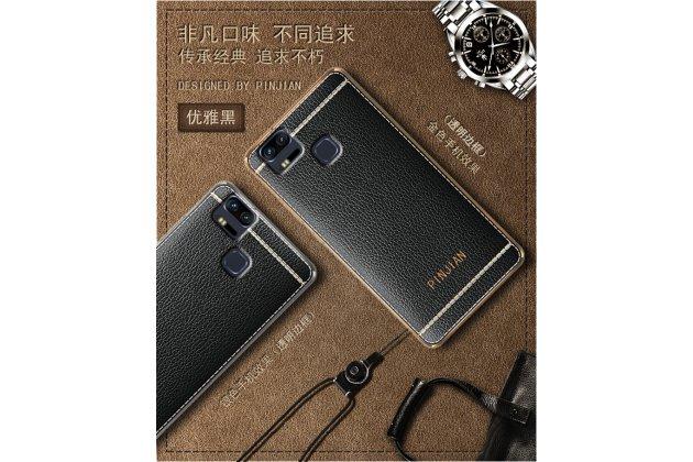 Фирменная премиальная элитная крышка-накладка на Asus ZenFone 3 Zoom ZE553KL 5.5 (Z01HDA)  черная из качественного силикона с дизайном под кожу