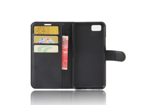 Фирменный чехол-книжка из качественной импортной кожи с подставкой застёжкой и визитницей для Asus Zenfone 3S Max ZC521TL 5.2 черный
