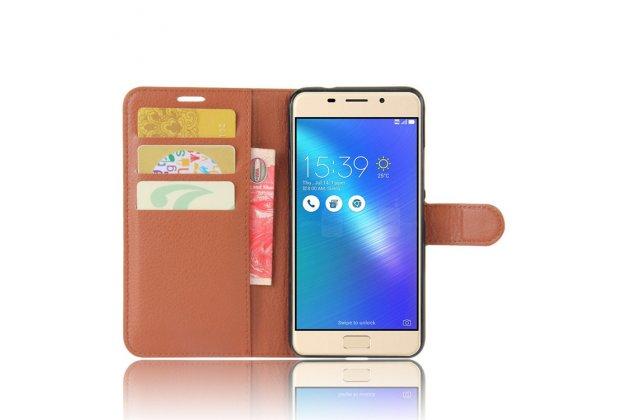 Фирменный чехол-книжка из качественной импортной кожи с подставкой застёжкой и визитницей для Asus Zenfone 3S Max ZC521TL 5.2 коричневый