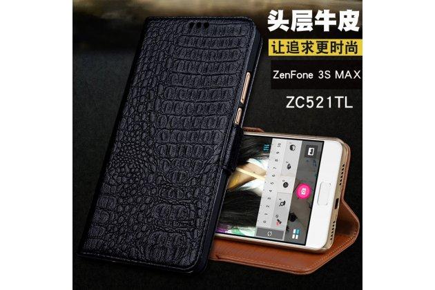 Фирменный роскошный эксклюзивный чехол с фактурной прошивкой рельефа кожи крокодила и визитницей черный для Asus Zenfone 3S Max ZC521TL 5.2.