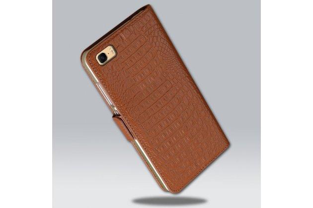 Фирменный роскошный эксклюзивный чехол с фактурной прошивкой рельефа кожи крокодила и визитницей коричневый для Asus Zenfone 3S Max ZC521TL 5.2.