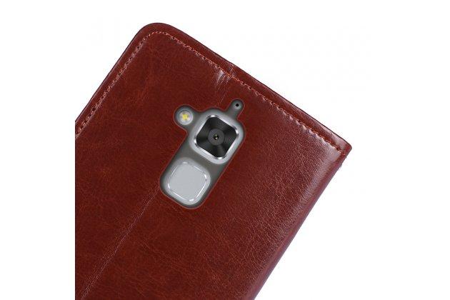 """Фирменный чехол-книжка из качественной импортной кожи с подставкой застёжкой и визитницей для ASUS ZenFone 4 Max ZC520KL (A006/4A032RU) 5.2"""" / Android 7.0 коричневый"""