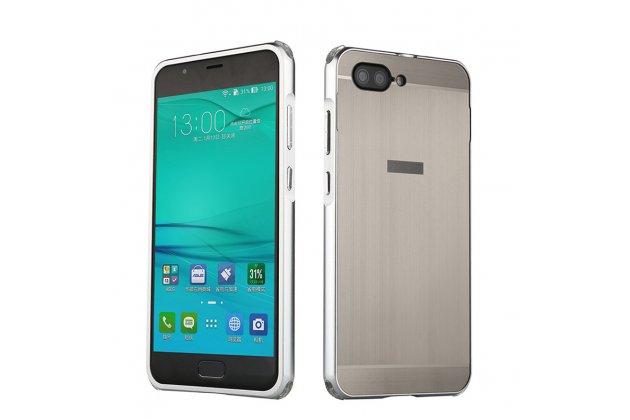 """Фирменная металлическая задняя панель-крышка-накладка из тончайшего облегченного авиационного алюминия для ASUS ZenFone 4 Max ZC520KL (A006/4A032RU) 5.2"""" / Android 7.0 серебристая"""